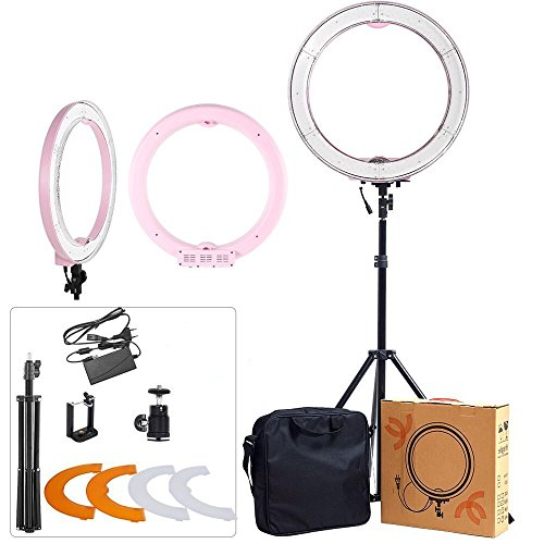 ASHANKS Ring Light with Stand 12in Camera Photo/Video 240 LED MSD 5500K Dimmable Ring Fluorescent Flash Light Lighting Kit for Fashion Photography and YouTube Vine Self-Portrait Video Shooting(Pink) by ASHANKS