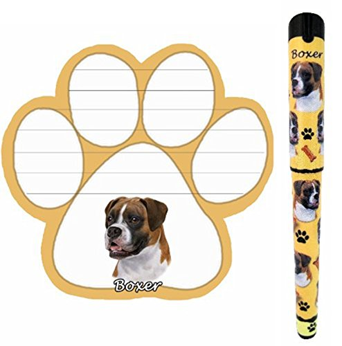 Boxer Pet Lovers Magnetic Paw Pad and Easy Glide Gel Pen