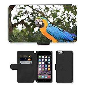 """Hot Style Cell Phone Card Slot PU Leather Wallet Case // M00111871 Parrot Bird Colorful Exotic Yellow // Apple iPhone 6 4.7"""""""