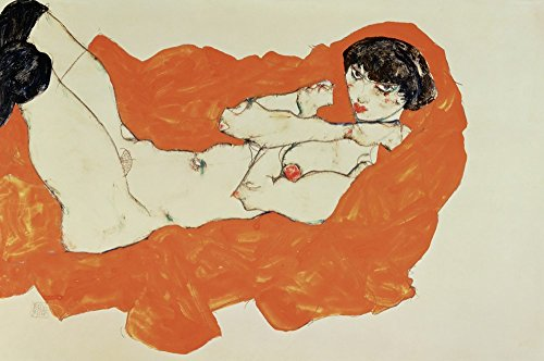 Reclining Female Nude On Red Drape, 1914 by Egon Schiele Art Print, 18 x 12 inches