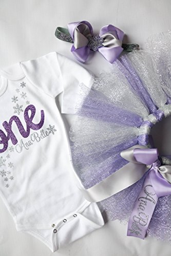Winter Ondederland Snowflake Themed Baby Girl Birthday Set with Tutu and Bow Headpiece Purple and Silver Personalized -