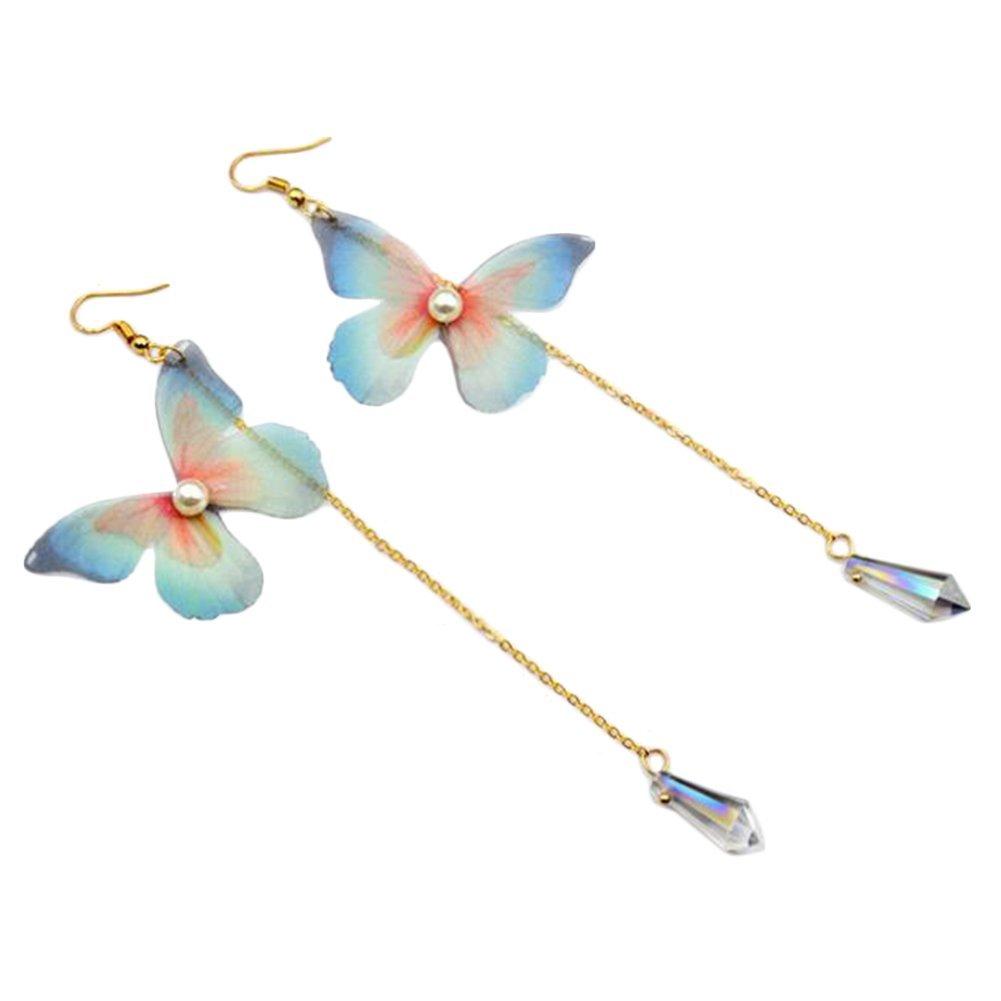 Babasee Fashion Bohemian Butterfly Vintage Long Dangle Earrings Crystal Dangling