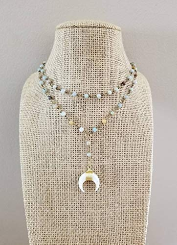 White Double Horn Lariat Choker Necklace Multi Color Amazonite Stone