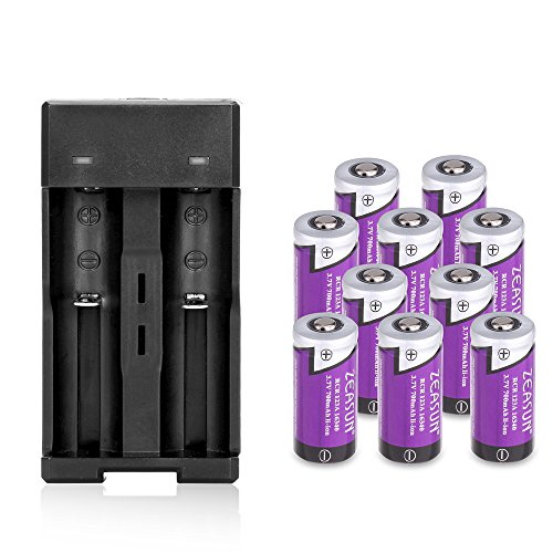 Zeasun 10 Pack of CR123A Rechargeable Batteries 3.7V 700mAh Lithium-ion Rechargeable Battery with Charger for Flashlight Camera