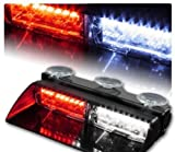 WoneNice 16 LED High Intensity LED Law Enforcement Emergency Hazard Warning Strobe Lights 18 Modes for Interior Roof / Dash / Windshield with Suction Cups (Red/White)