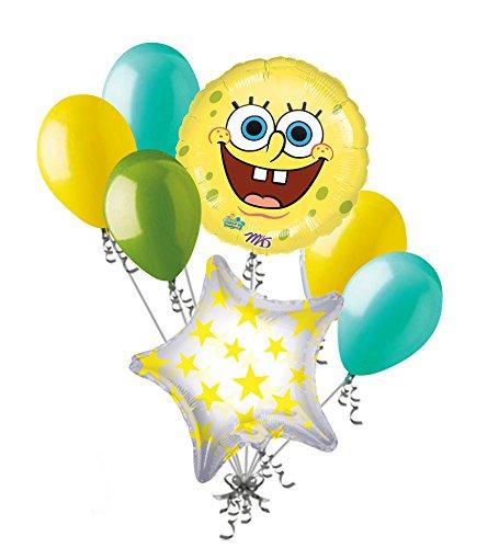 7 pc Spongebob Squarepants Smile Balloon Bouquet Happy Birthday Party Decoration -