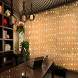 chunnuan 300 LED Curtain Lights Window Curtain String Light 9.84ft/3m UL Safe with 8 Modes Remote Control for Home Garden Bedroom Party Wedding Patio Lawn Wall Decoration (Warm White)