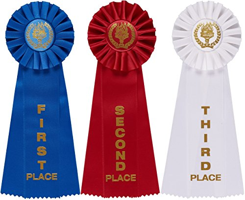 Stars Medal Trophys Trophies (Victory Rosette Premium Award Ribbons with Event Card By Clinch Star (1st Blue, 2nd Red, 3rd White))