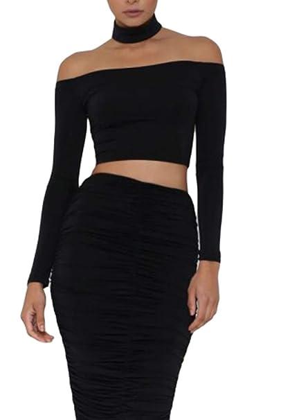ac6c4ec79a8 Shawhuwa Womens Sexy Off Shoulder Long Sleeve Choker Zipper Crop Top at  Amazon Women's Clothing store: