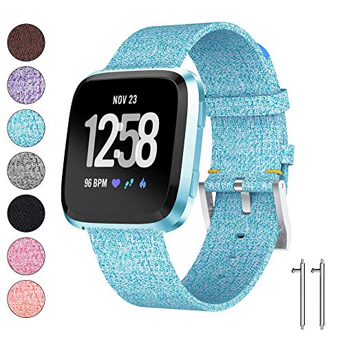Watbro Compatible with Fitbit Versa/Versa Lite, Women Fabric Breathable Watch Band, Quick Release Replacement Wristband Accessories, for Versa Smart Watch Strap Women Man (Blue)