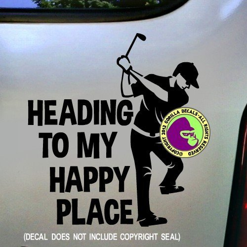 HEADING TO MY HAPPY PLACE Male Golfer Vinyl Decal Sticker E