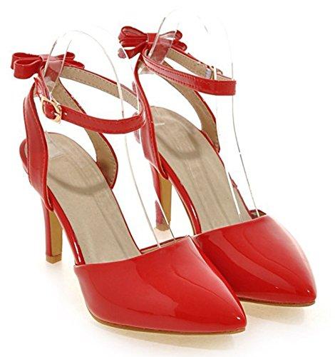 Aisun Donna Elegante Elegante Con Fibbia Brunito Punta A Punta Stiletto Tacchi Alti Cinturino Alla Caviglia Sandali Scarpe Con Fiocchi Rossi