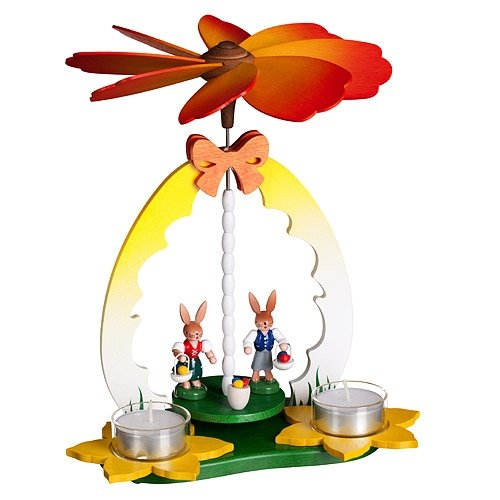 Easter Pyramid with Rabbit Children for 2 Tealight Candles 10 Inch