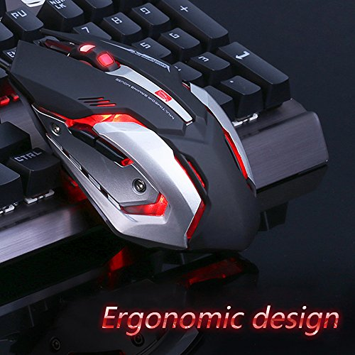 LENRUE Wired Gaming Mouse with LED Optical, 4 DPI Adjustment Levels, 6 Buttons for Laptop, PC, Mac (Black Gaming Mouse)