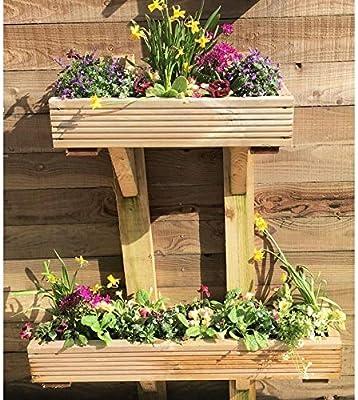 Enmarcado Decking de madera jardín maceta soporte de pared madera ...