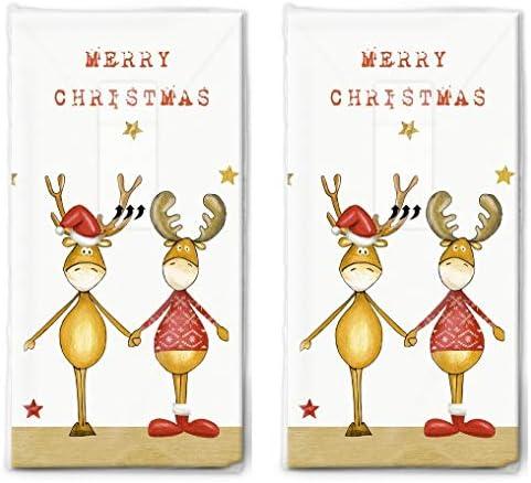 20 Taschentücher (2x 10) Zwei Weihnachtsfreunde als Geschenk für Weihnachten