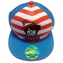Where's Waldo Red White Stripe Embroidered Logo Flatbill Adjustable Cap Hat