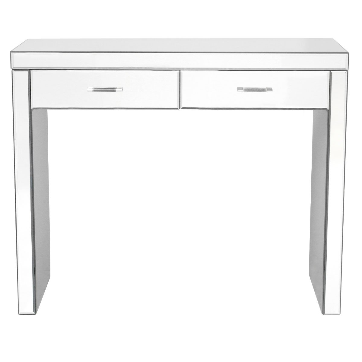 Charles Bentley Home Mirrored Glass Hallway Furniture 2 Drawer Dressing Console Table