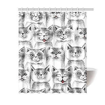 InterestPrint Blanco y Negro Gatos Lindos Grupo decoración del hogar, jardín Divertido Gato Tela de poliéster Cortina de Ducha baño Sets 72 x 72 cm: ...