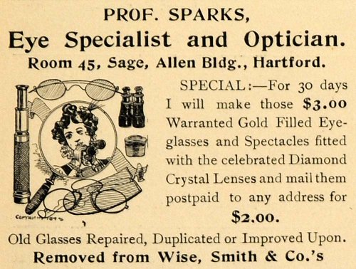 1899 Ad Prof Sparks Diamond Lens Wise Smith Glasses Spectacles Gold Crystal Girl - Original Print - Crystal Spectacles