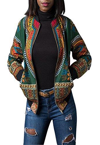 Playworld Women's Long Sleeve Print Dashiki Ethnic Style Africa Baseball Jacket,Green,Medium by Playworld (Image #2)
