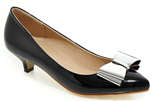 d1e87bb9df6 IDIFU Women s Dressy Closed Pointed Toe Low Top Slip On Kitten Heels Pumps  Shoes with Bow