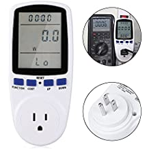 Plug Power Meter LinkStyle Power Consumption Monitor LCD Power Usage Plug Meter Plug Energy Consumption Meter Monitor Electricity Monitor Analyzer Electricity Usage Monitor Analyzer