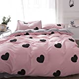 BHUSB Reversible Kids Duvet Cover Set Queen Pink with Love Heart Printing 100% Cotton Bedroom Bedding Set Full for Boys Girls Teens Grey Stripe Pattern Comforter Cover with Zipper Closure