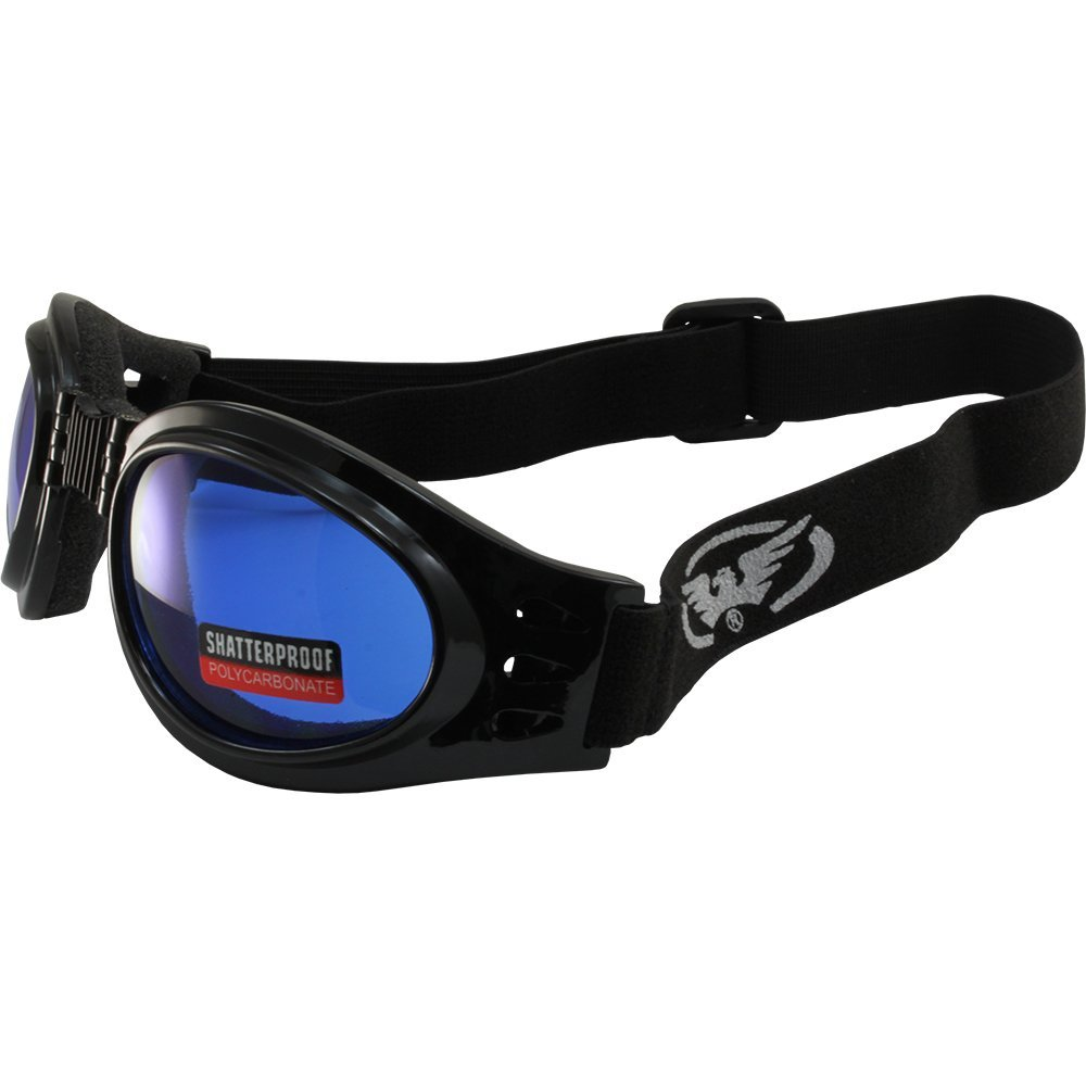 Global Vision Adventure Folding Padded Motorcycle Goggles Black Frames with Blue Lenses