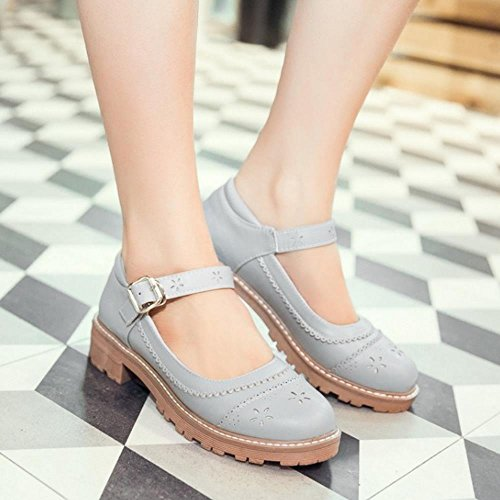 Strap Print Sweet Fashion Ankle Girl Shoes Women Pumps KemeKiss Gray School t86qBwE5