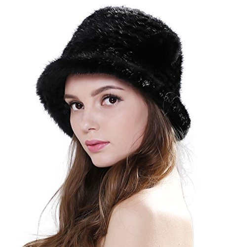 Zegeon Women's Mink Fur Bucket Hat Casual Winter/Autumn Knitted Hat 2018