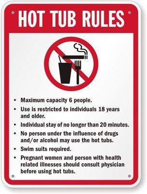 Amazon.com: Reglas de jacuzzi (con no fumar, comer y beber ...