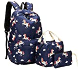 School Backpack for Teens Girls Cute School Bookbag set Boys Kids insulated lunch bag fit 15 inch Laptop Travel Daypack (Unicorn - Dark blue01)