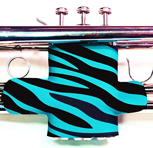 (Neoprene Trumpet Valve Guard with hook and loop in over 60 colors and patterns by Legacystraps Zebra Stripe Turquoise Design)