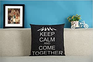 CCTUSGSH Keep Calm And Come Together Cotton Throw Pillow Case Cushion Cover 18 X 18 Inches One Side