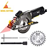 "Circular Saw, TECCPO 4-1/2"" 3500 RPM 4 Amp Compact Circular Saw with Laser Guide, 24T Carbide Tipped Blade, Scale Ruler, Pure Copper Motor, Max Cutting Depth 1-11/16'' (90°), 1-1/8'' (45°) - TAMS24P"