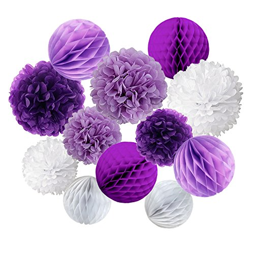 Cocodeko Tissue Paper Pompoms and Honeycomb Balls for Birthday Party Wedding Baby Shower Bridal Shower Festival Decorations - Purple, Lavender and White -