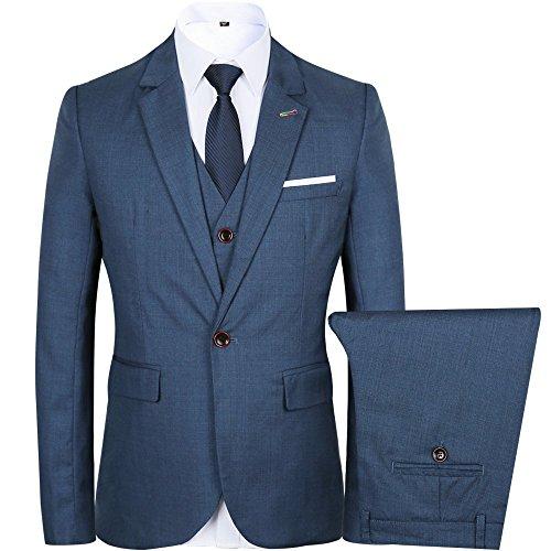 WEEN CHARM Men's 3 Piece Business Suit Slim Fit Notch Lapel One Button Tuxedo Blazer Jacket Trouser Vest Set - Exclusive Single Breasted Jacket