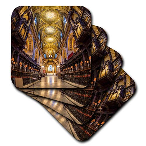 3D Rose Choir Stalls-Altar and Roof Cathedral-St Paul's-London Soft Coasters Multicolor