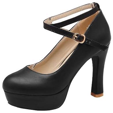 0c9840585717 IDIFU Women s Dressy Buckle High Block Heels Platform Pumps Shoes with Ankle  Straps (Black