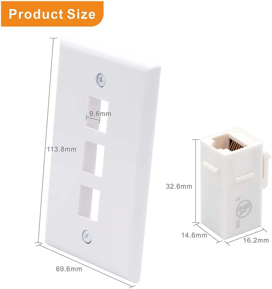 VCE 3 Port Cat6 Female to Female Connector Wall Plate UL Listed RJ45 Keystone Jack Inline Coupler FacePlates