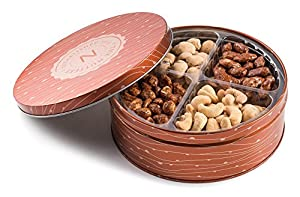 Premium Quality 4 Section Nuts Gift Tin Includes Healthy Food Snacks of Fresh Dry Roasted Salted and Sweet Nuts Perfect Holiday and Corporate Basket