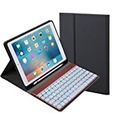 Cywulin Wireless Detachable Bluetooth 3.0 Keyboard, Foldable Ultra Slim Rechargeable Keyboard for iPad 9.7 2017/2018 Pro Air 2/1 (With backlit, black)