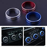beler 3pcs A//C Heater Climate Control Switch Buttons Knobs Cover Trim Ring