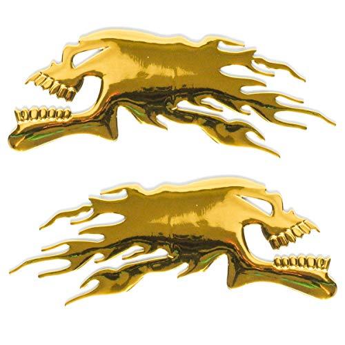 ZAIXU 2Pcs/Pair 3D Raise Ghost Flaming Skull Head Emblem Stickers 6