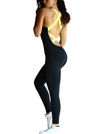 Minetom Femme Été Sans Manches Pantalons de Sport Yoga Élastique Combinaison  Salopette Collants Course Gym Fitness f0a4e87acd7