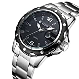 Watches,Men Watches Black Stainless Steel Wrist Watch for Men Quartz Dress Casual Analog Watch Gift Men