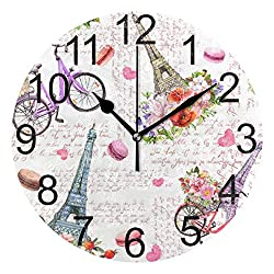 Wamika Paris Eiffel Tower Love Heart Round Wall Clock Battery Operated Quartz Analog Pink Flowers Bicycle Clock Non Ticking Silent Acrylic Clocks for Home School Office