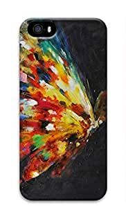 Artsy 3D Hard Plastic Case Shell for iPhone 5 5S Covered by Colorful Butterfly Art Painting
