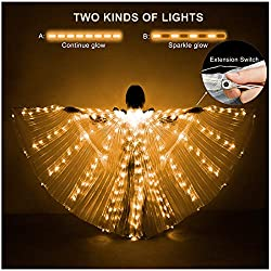 Transparent Wings Yellow Lights Belly Dance Wing